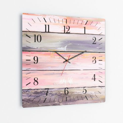 Weathered Paint Pink - Square Glass Clock